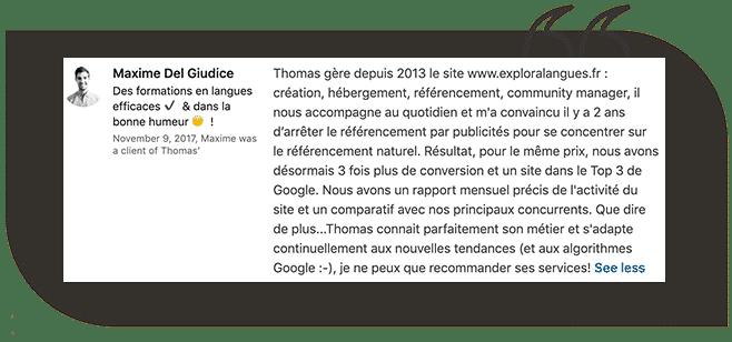 Avis client d'un consultant SEO à Nice Côte d'Azur