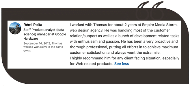 Client testimonial | SEO Consultant Nice